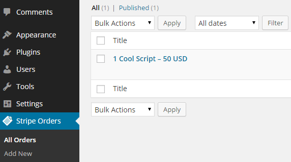 Stripe Plugin Orders Menu
