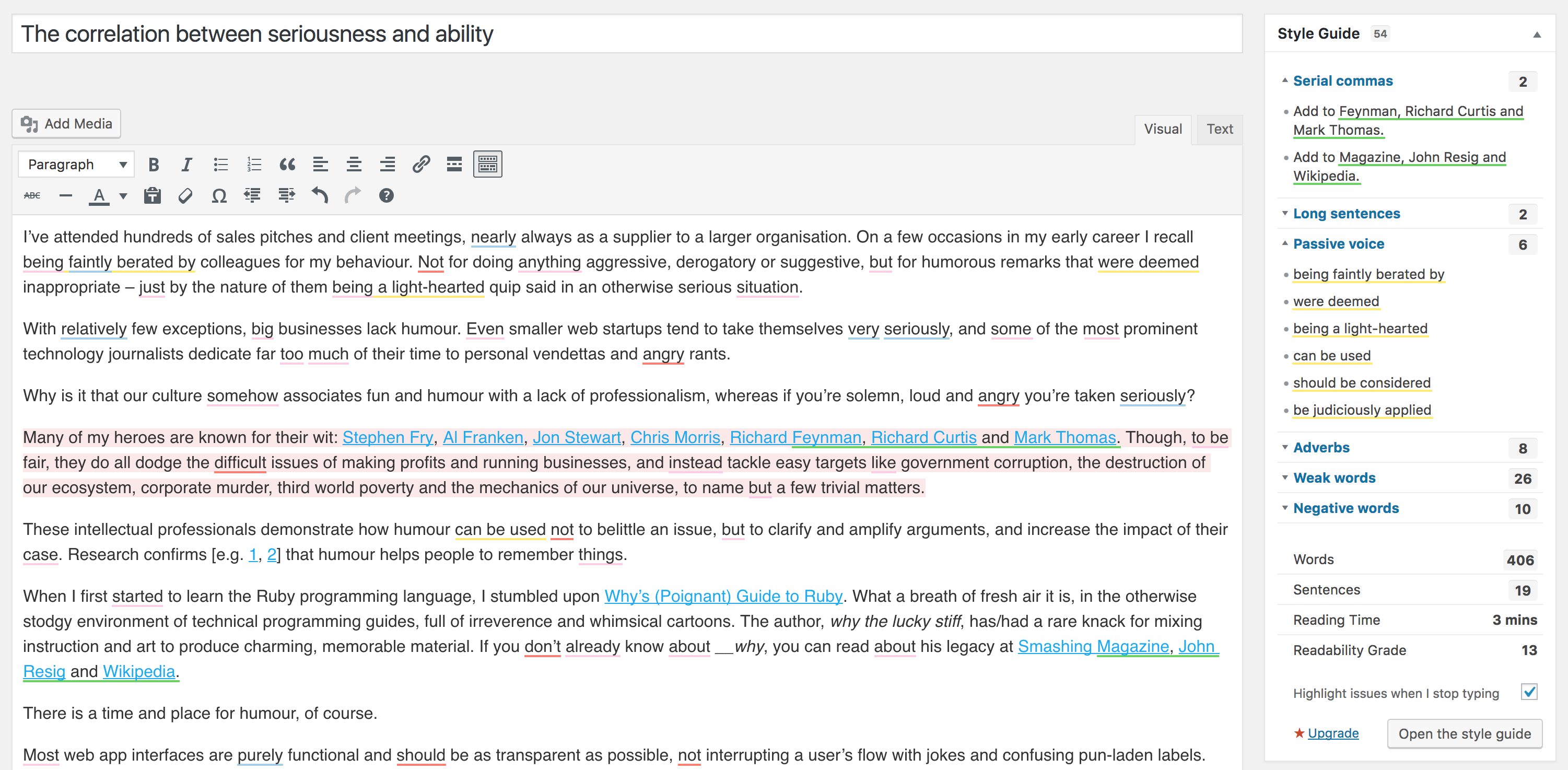 Another post with style guide violations highlighted, including long sentences in red.