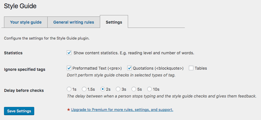 The third tab of style guide configuration options: plugin settings.