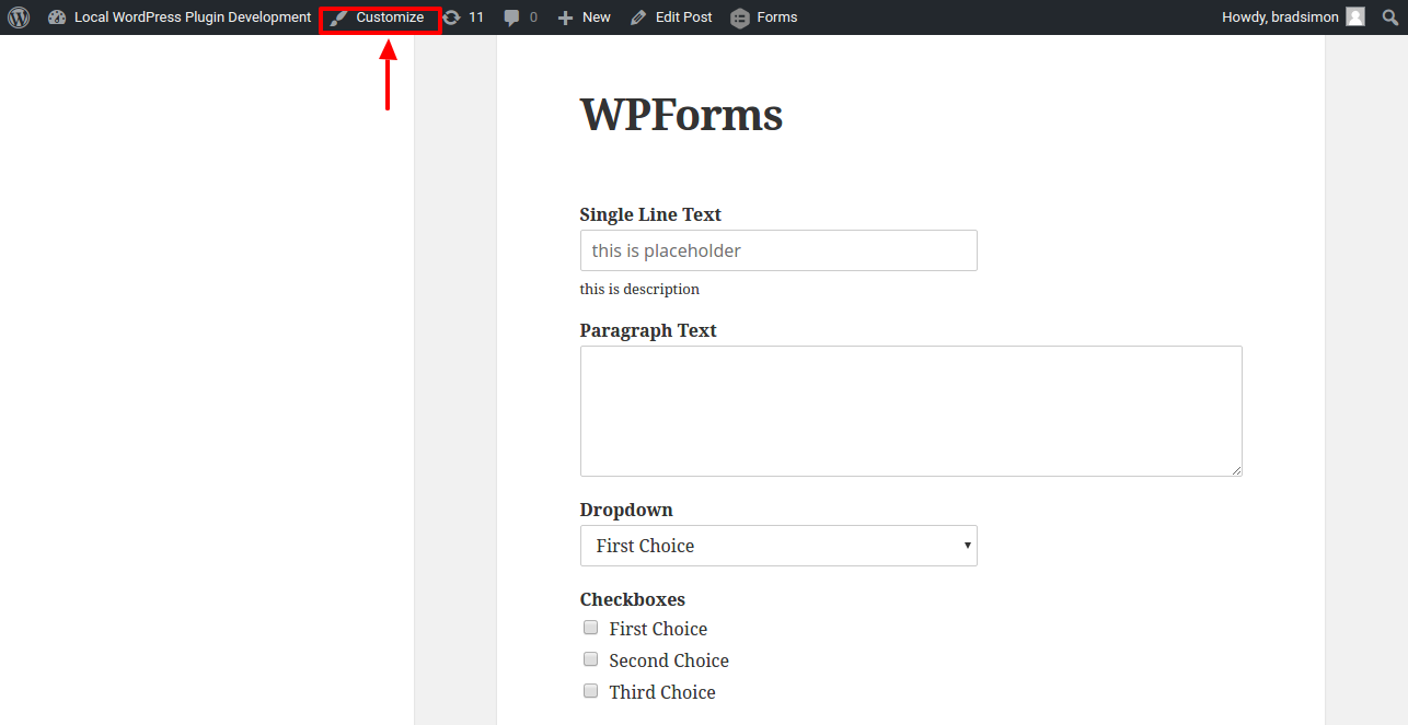 Open Customize window