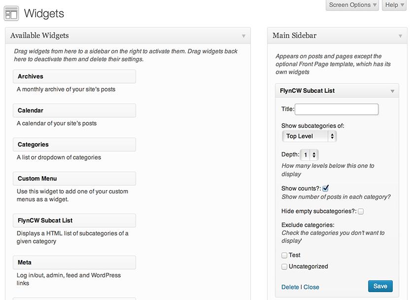 Backend widget options