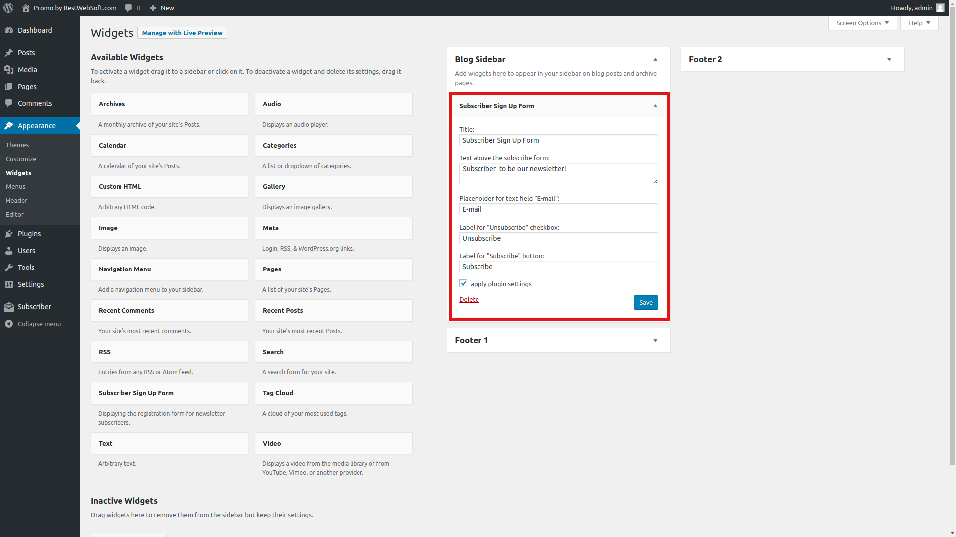 Subscriber Sign Up Form widget settings.