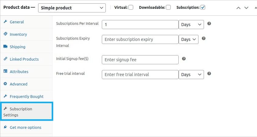 Subscriptions Settings