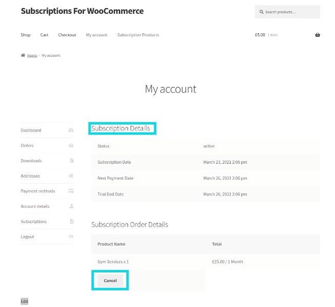 Subscriptions Order Details