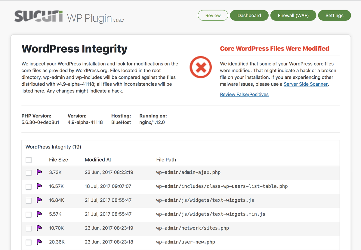 WordPress Integrity Tool - Detects added, modified, and removed files.