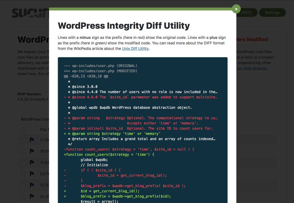 Integrity Diff Utility - Shows differences in the core WordPress files.