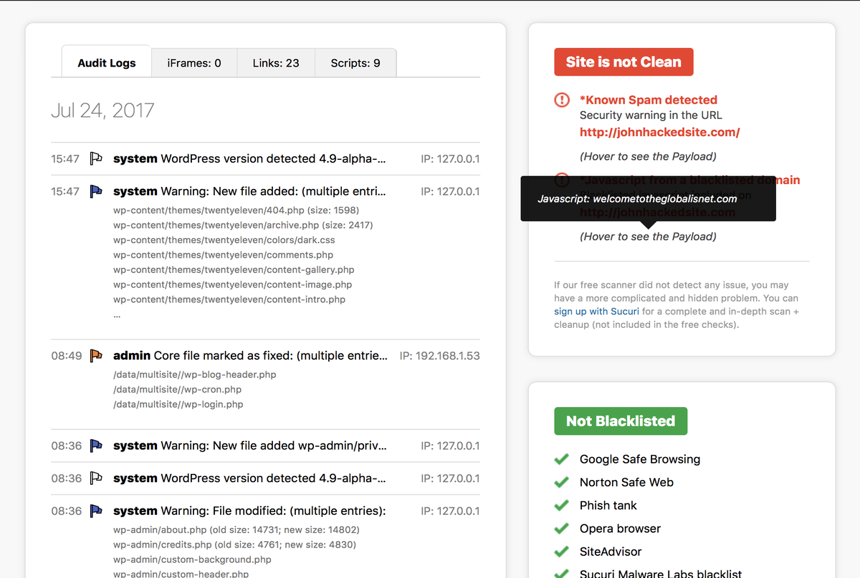 Securi Security WordPress Malicious code plugin