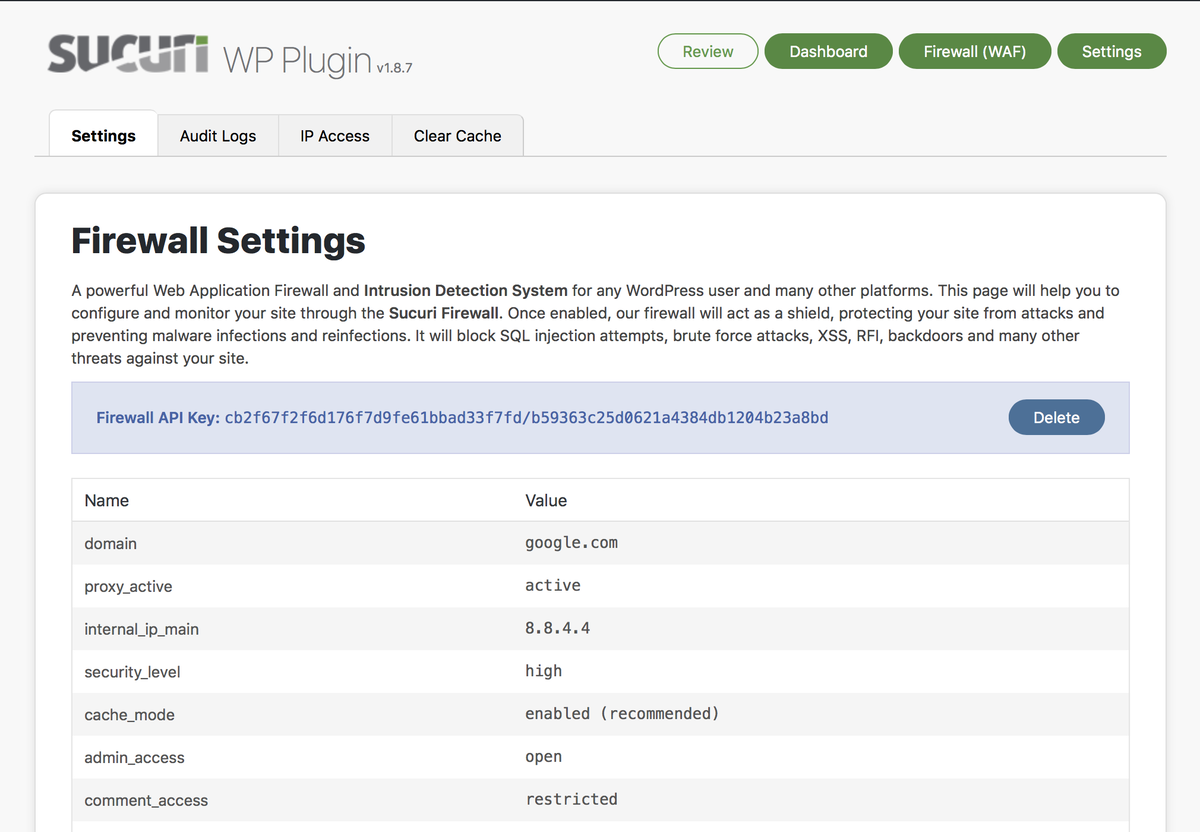 Sucuri Firewall - Settings visibility, audit logs, IP blocklisting, and cache.