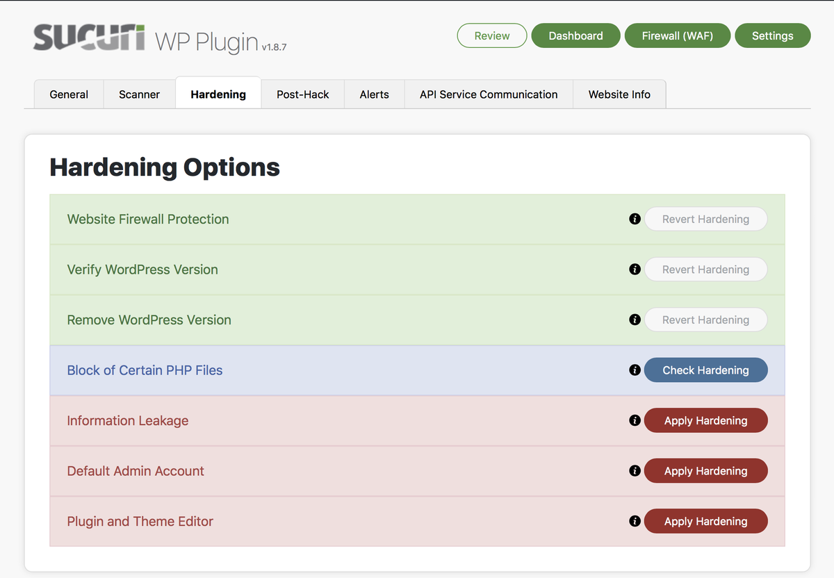 Website Hardening - Offers multiple options to increase the security of the website.