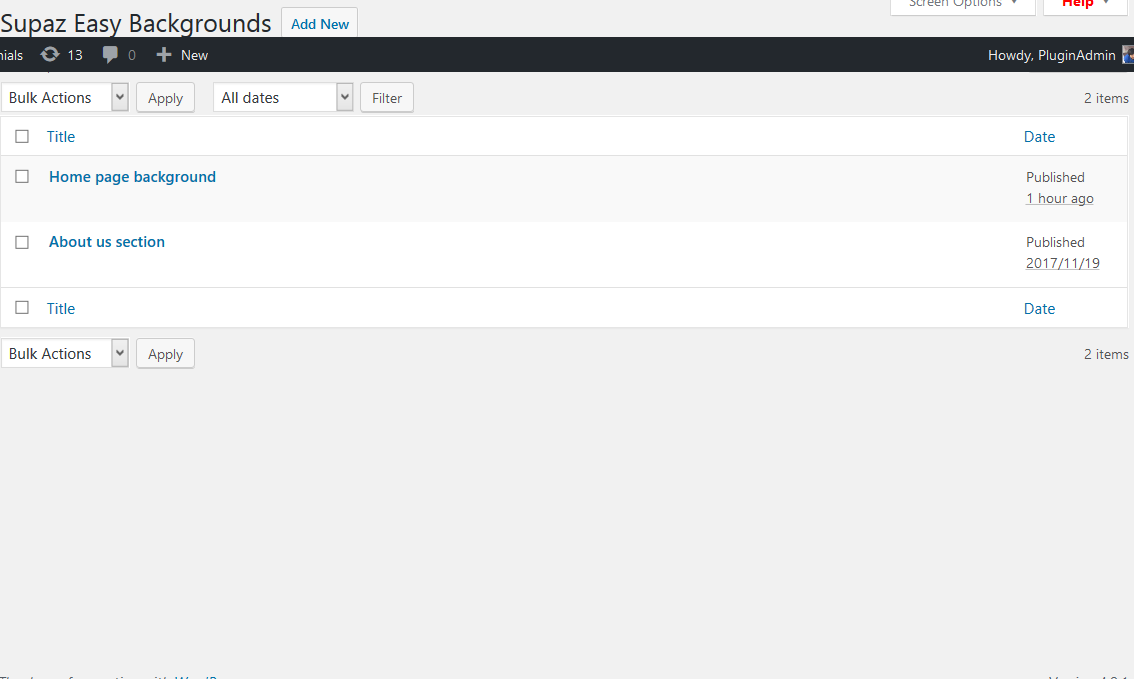 Backend - easy background listings.