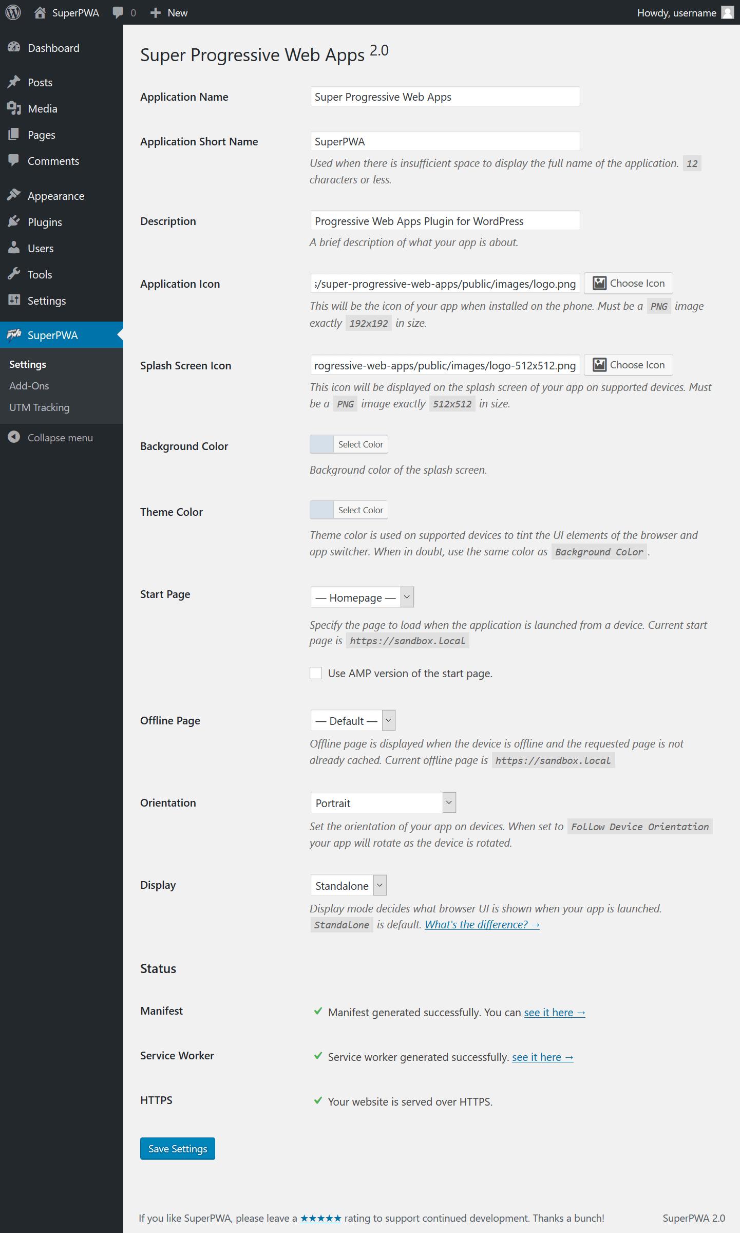 Settings page in WordPress Admin > Settings > SuperPWA