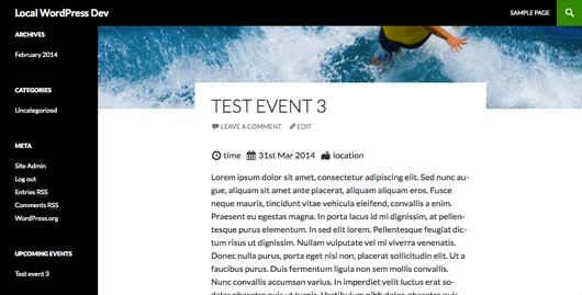Screenshot of an event on the front end with WordPress's default theme