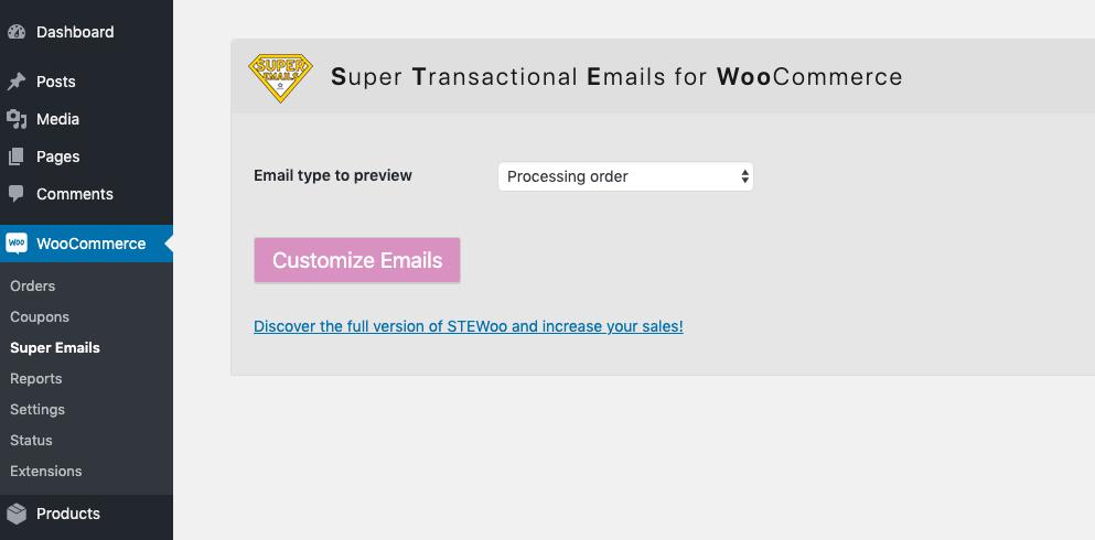Access STEWoo via the WooCommerce menu