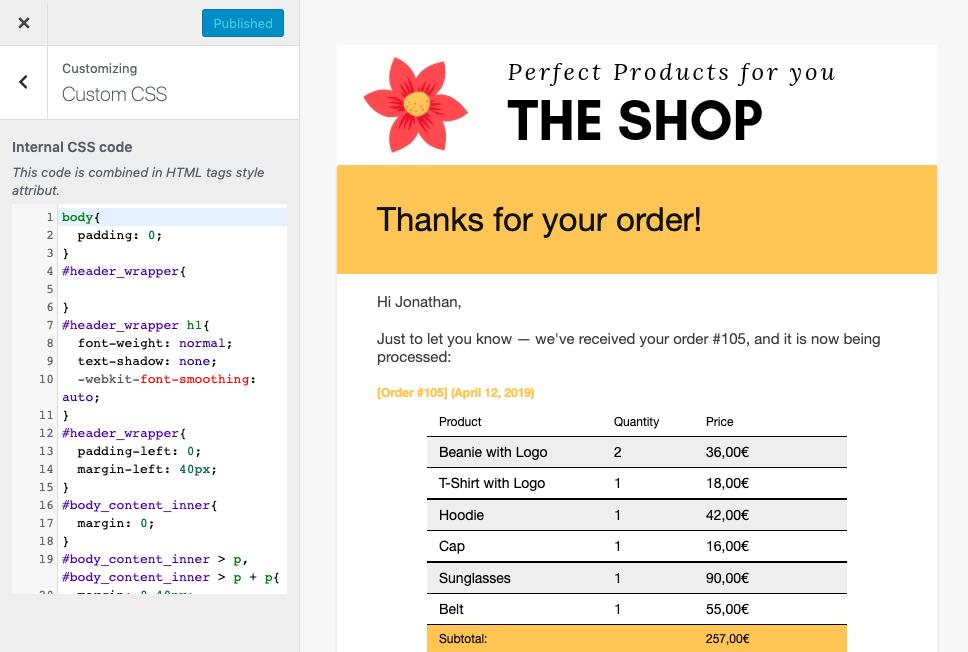 Add your custom CSS code