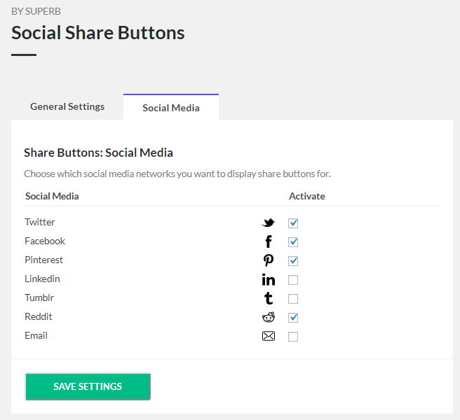 Share buttons - Active social media settings.