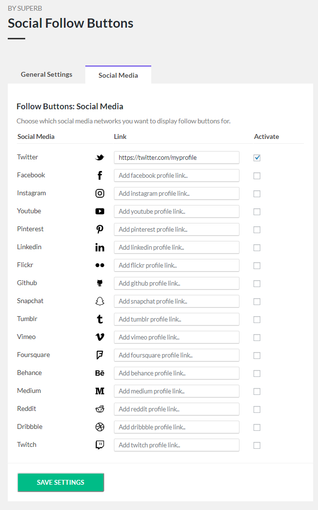 Follow buttons - Active social media settings.