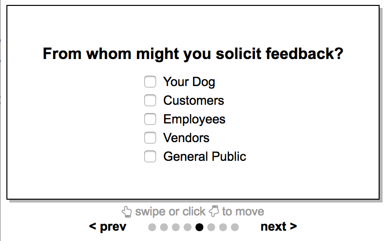 An example of a select question. This is used for allowing your customer select many options from a list.