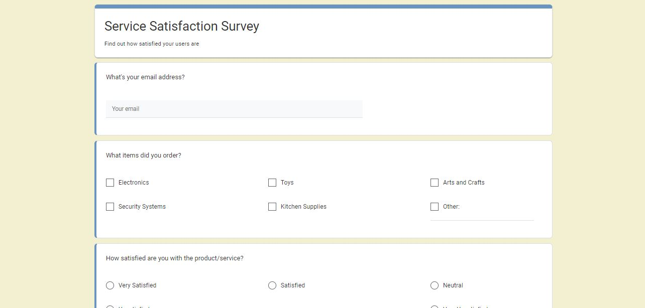WordPress Survey Plugin - survey example with different question types
