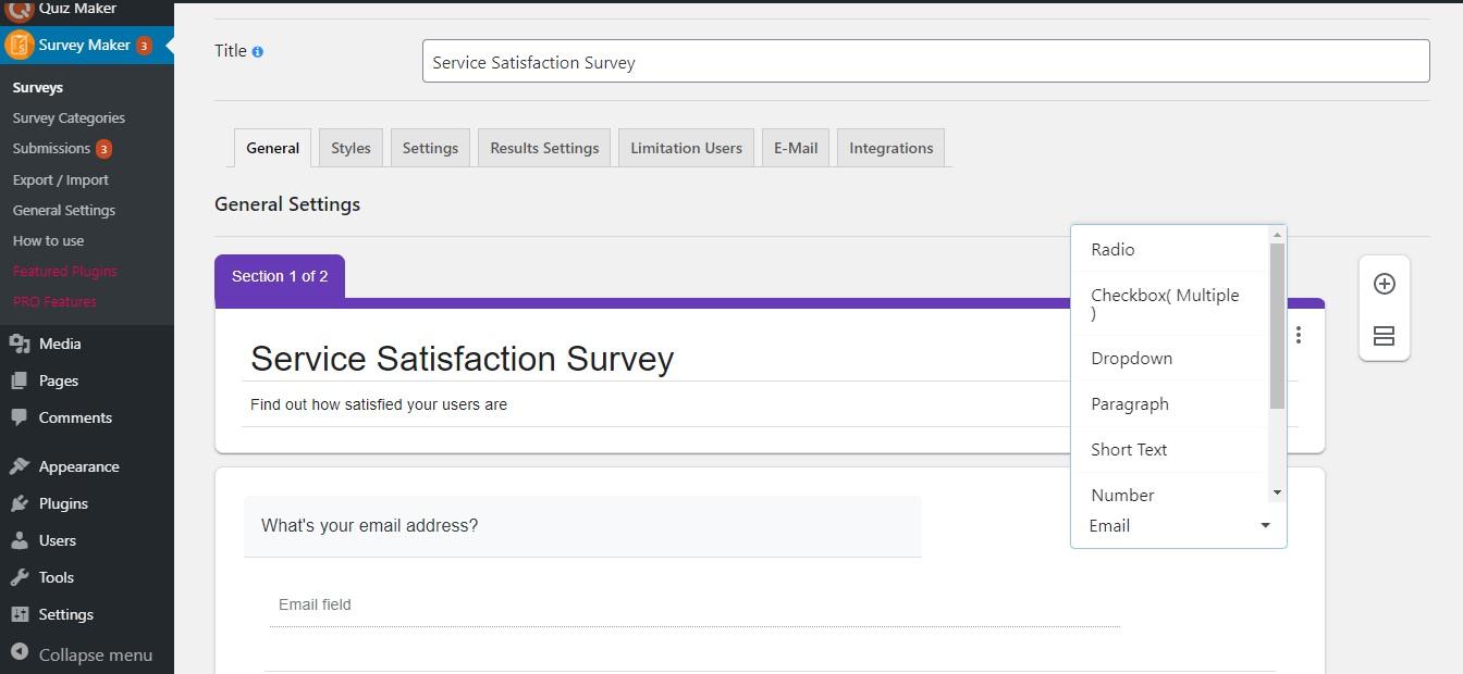 WordPress Survey Plugin - survey dashboard