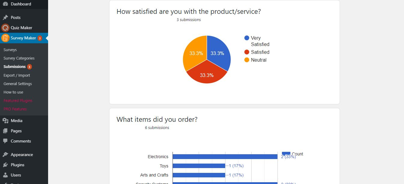 WordPress Survey Plugin - survey submissions summary with charts
