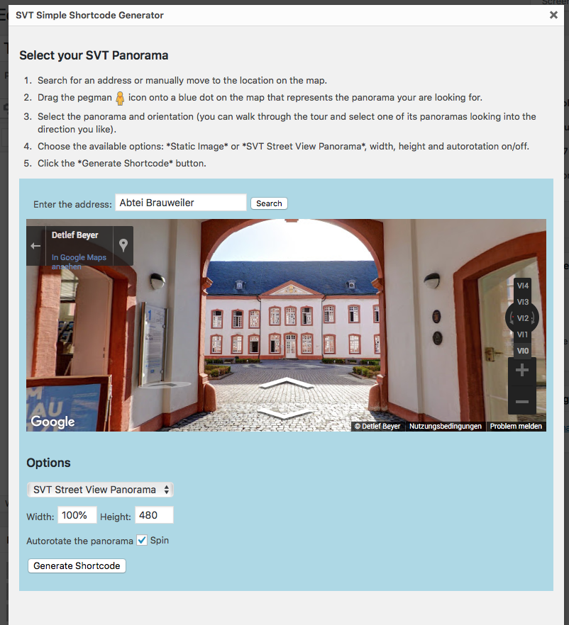 Search for an address or object and navigate to the panorama you'd like to include