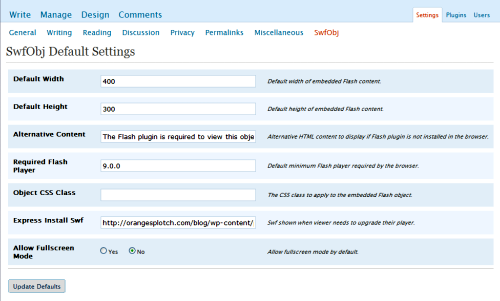 You can change the default settings for embedding Flash content.