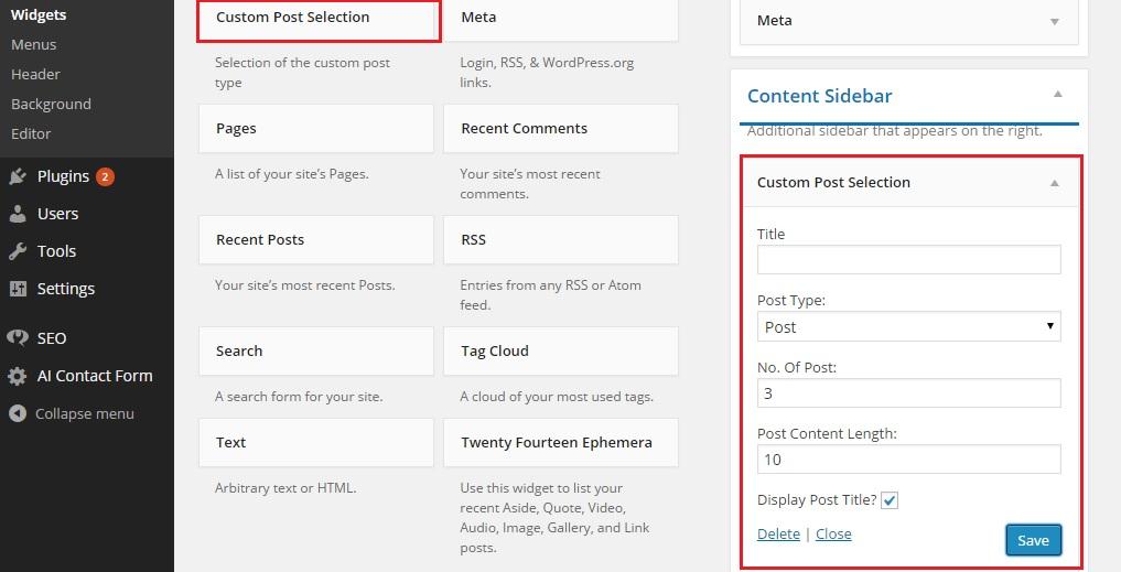 Add Custom Post Selection widget and setting parameters in WordPress admin panel.