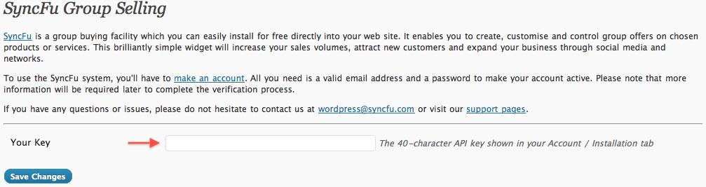 SyncFu settings page.