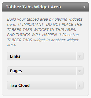 Tabber Tabs Widget Area - place other widgets here to create tabs
