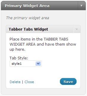 Tabber Tabs Widget: Place this widget in your sidebar to show tabs, and seletct a style