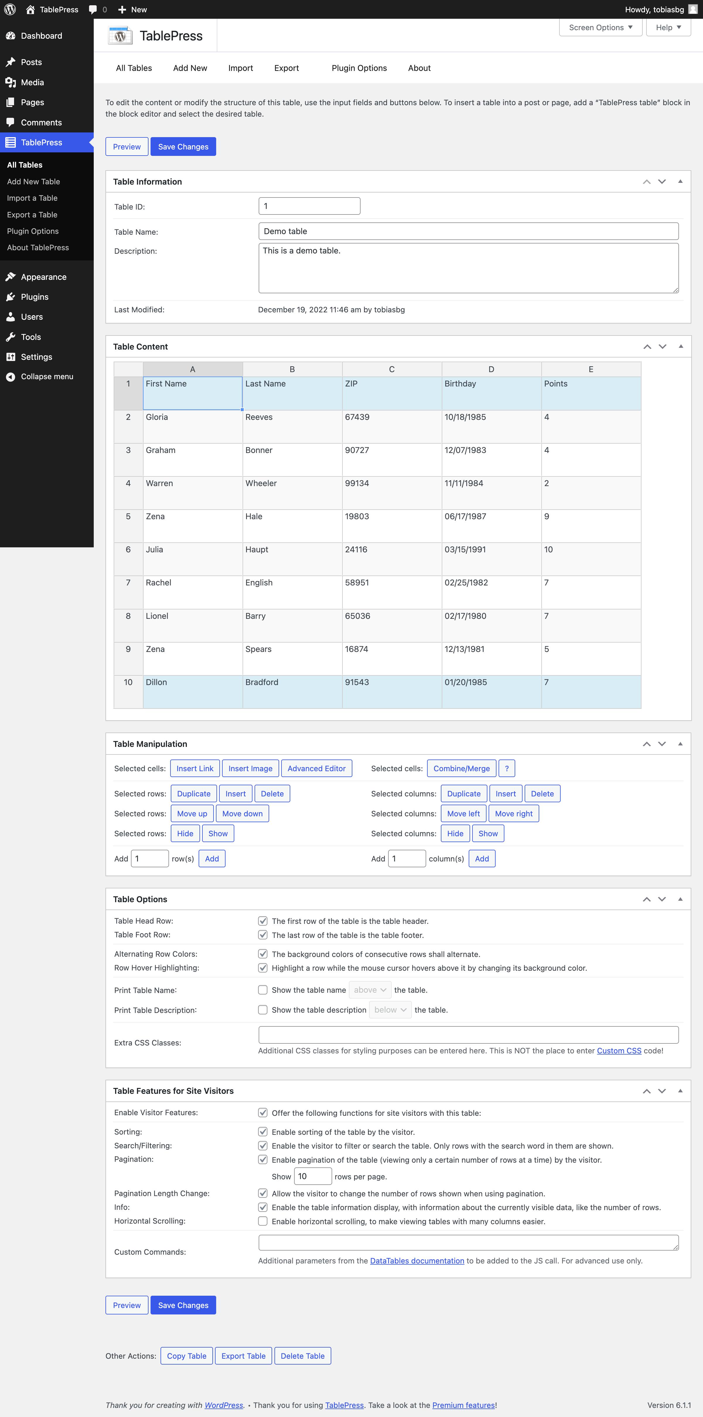 TablePress - Edit a table