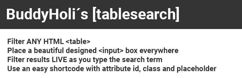 BuddyHolis TableSearch