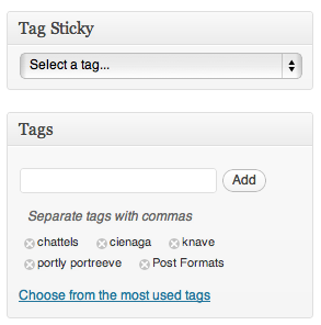 The new menu item for selecting which in which tag to stick the given post