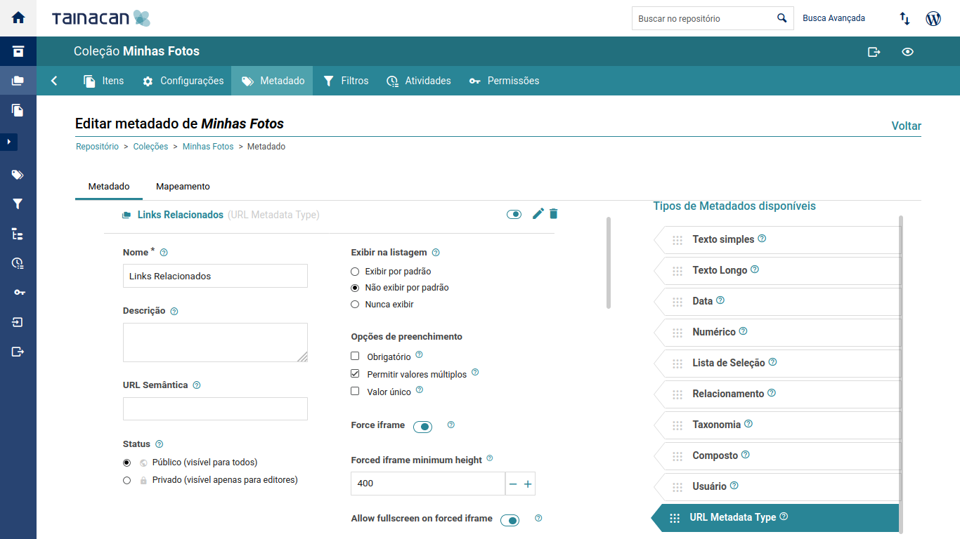 Create the metadata on your collection and set its options;