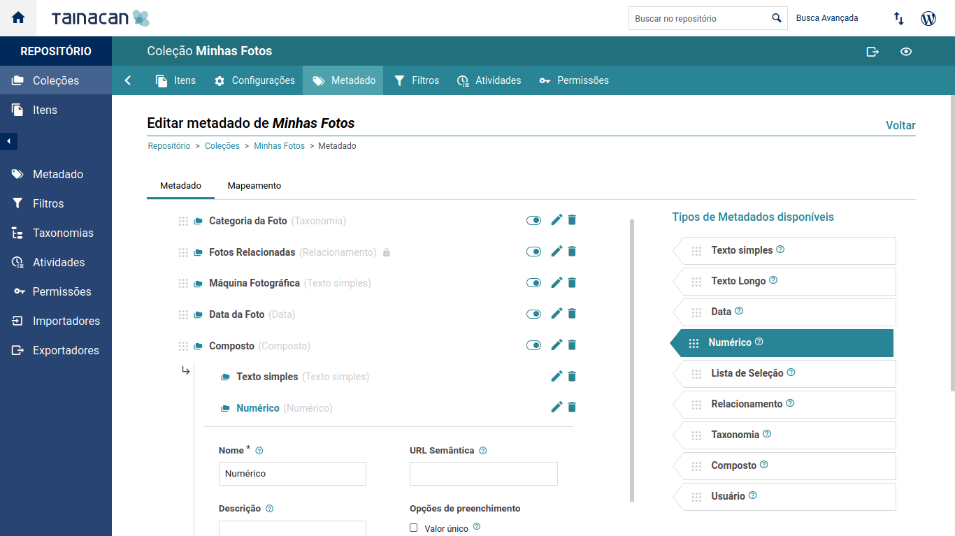 Choose the metadata and filters for your collection