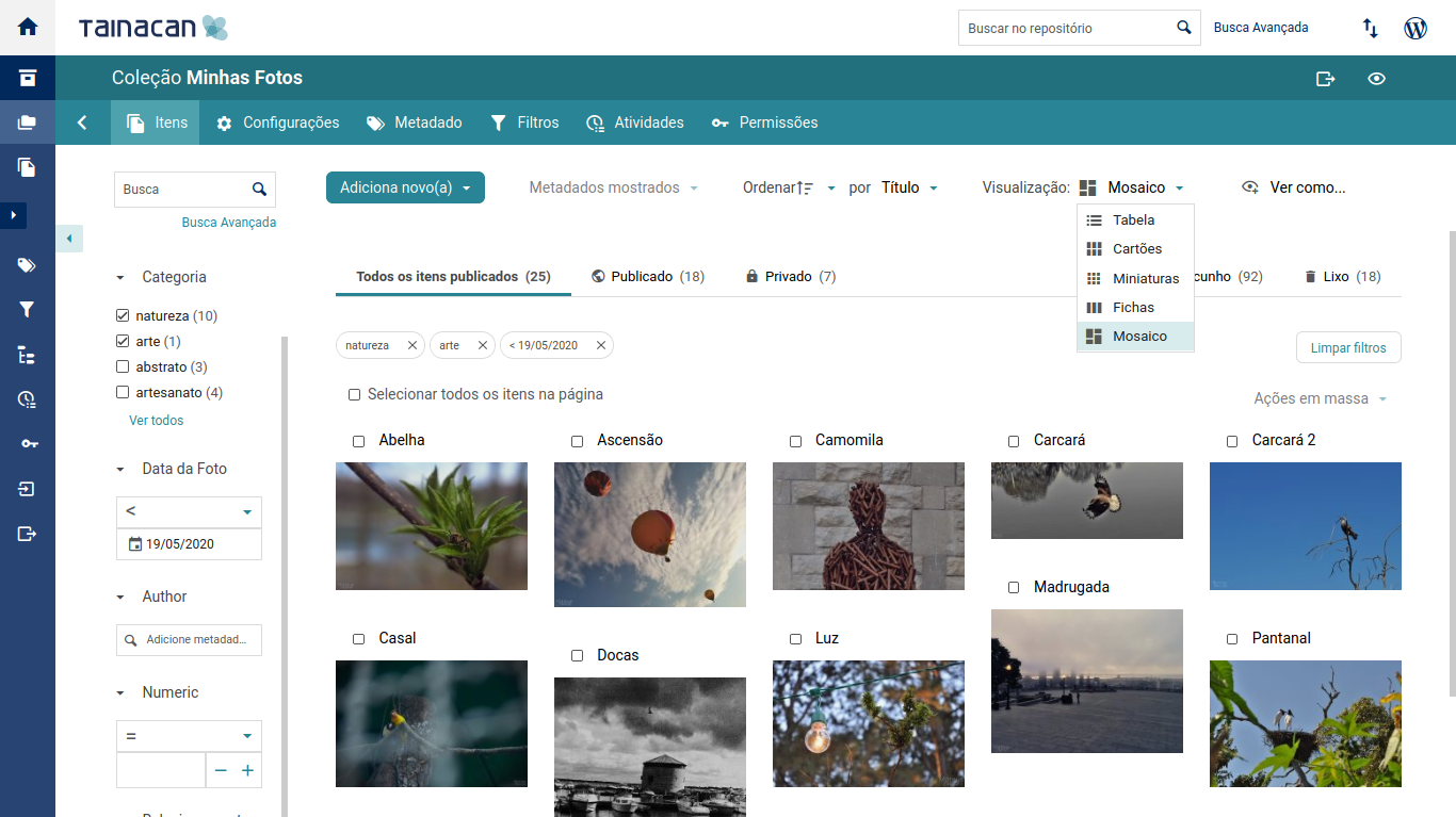 Browse your collections with a faceted search interface