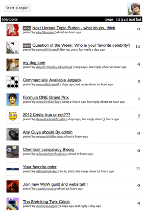 A listing of topics in a typical Talki forum