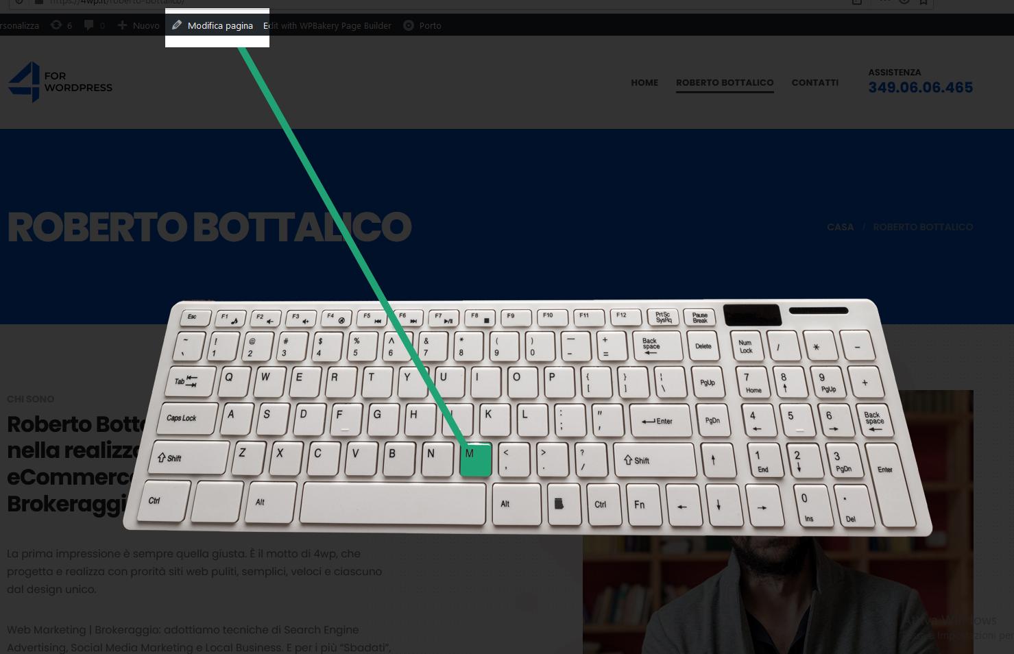 Accesso alla modifica pagina o articolo in modo rapido