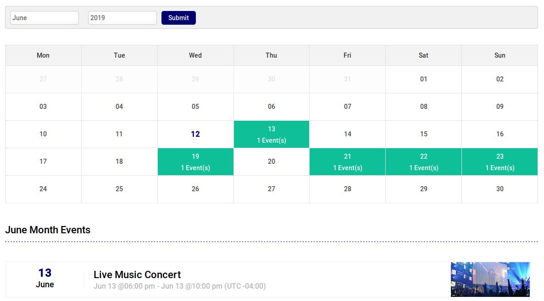 Events Calendar - Month View