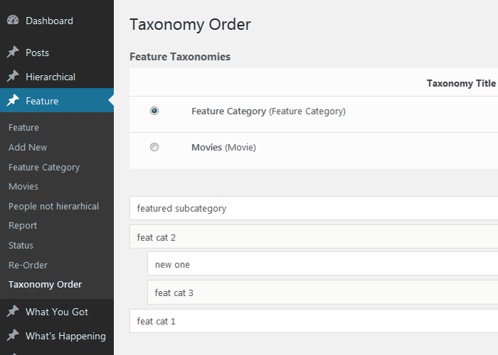 Category Order Interface.