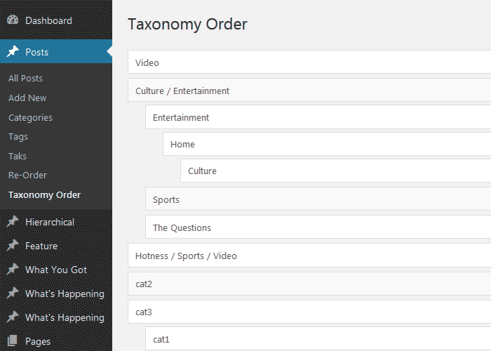 Multiple Taxonomies Interface.