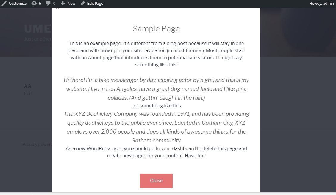 Wordpress dialog popup frontend view