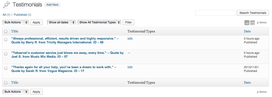 <p>View your testimonials and sort by type or date.</p>