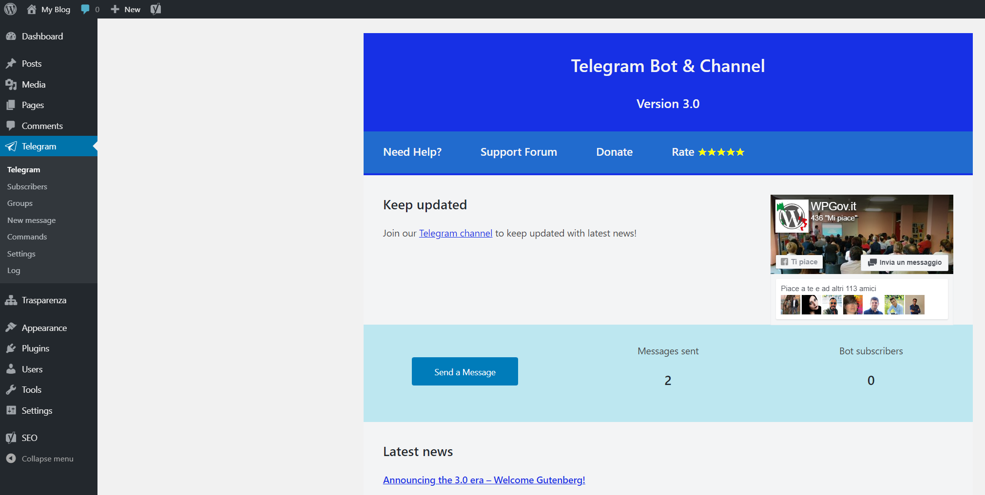 Telegram Bot & Channel – WordPress plugin | WordPress org