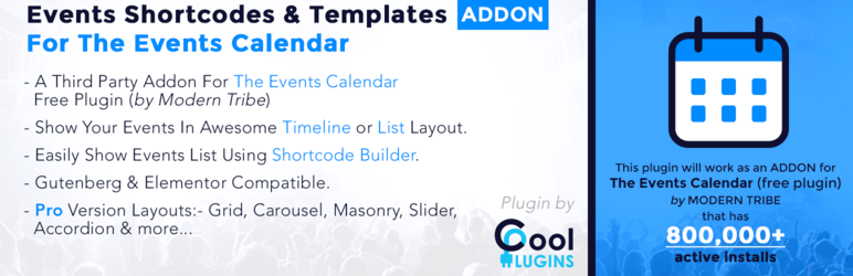 The Events Calendar Shortcode And Templates Wordpress Plugin