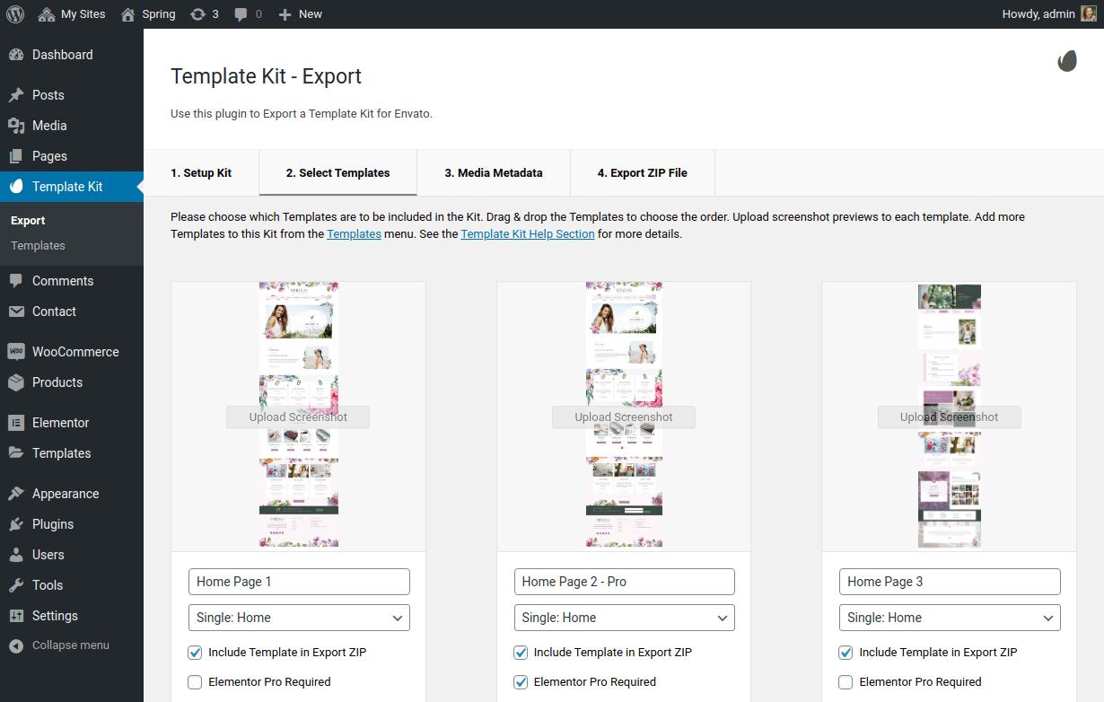 Template Kit – Export