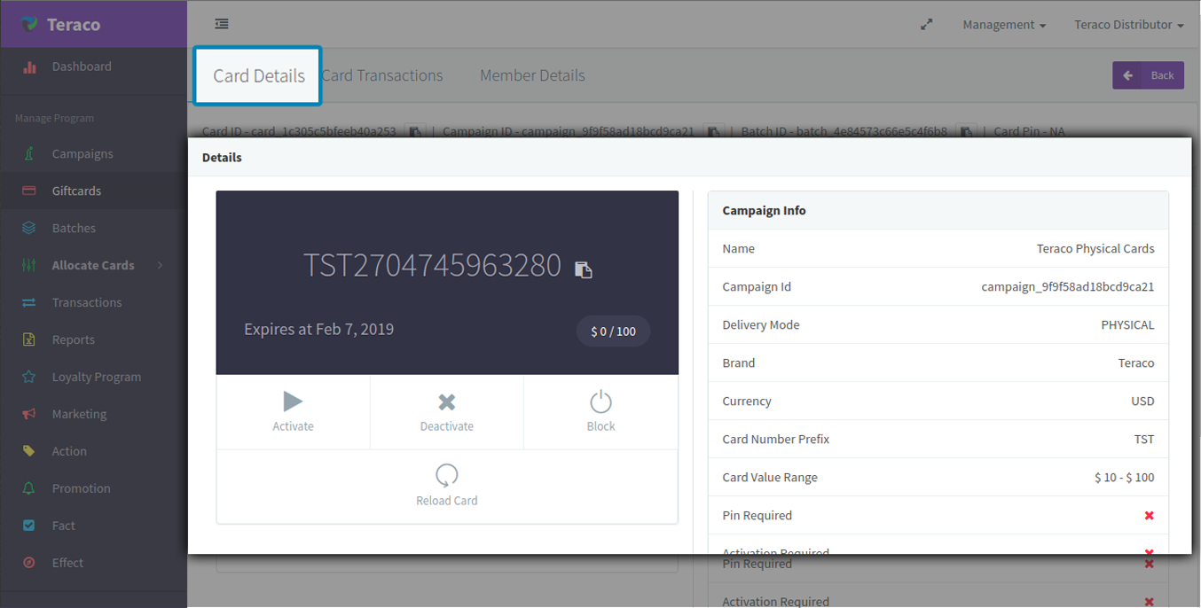 Track individual card details and transactions in Teraco.