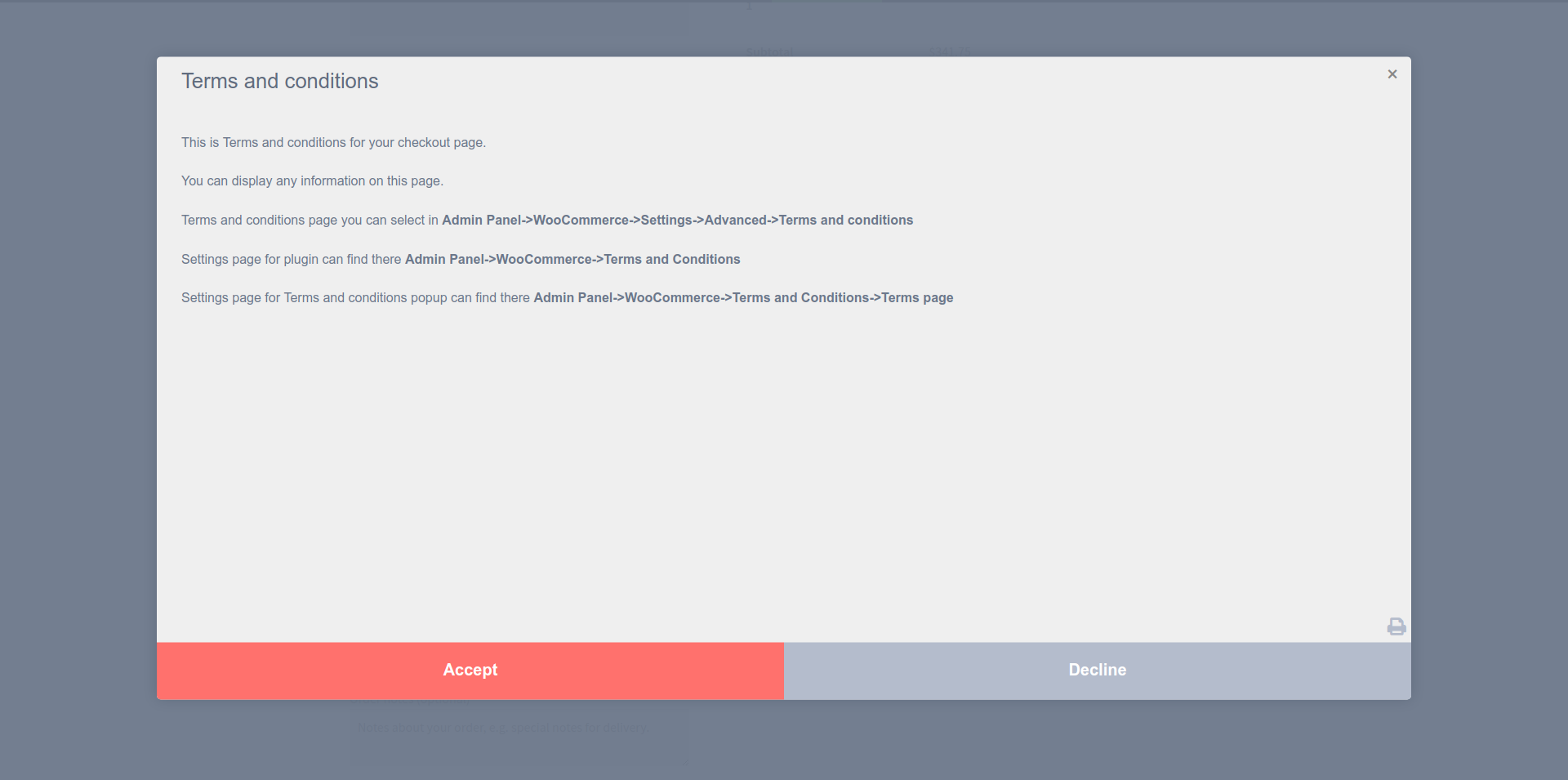 Terms and Conditions Popup for WooCommerce – WordPress