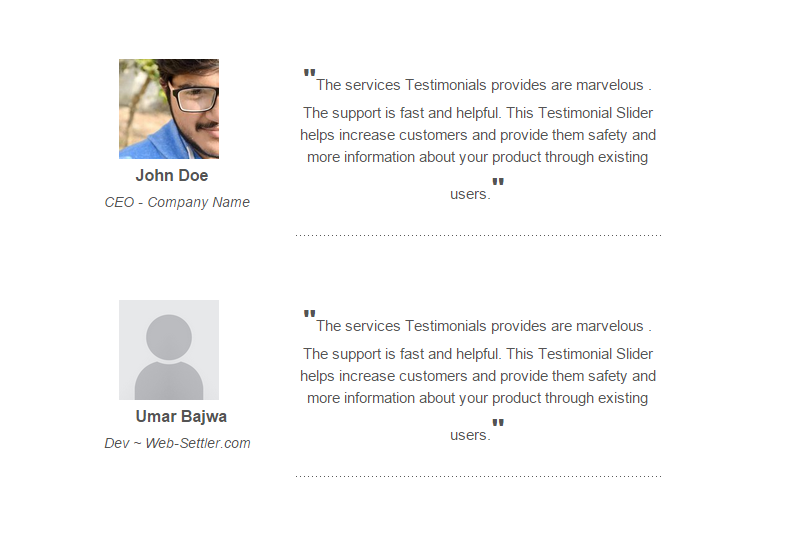 <p>You can also display testimonials in a list view.</p>