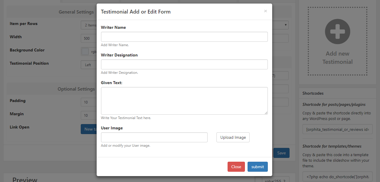 Popup Data Input form.